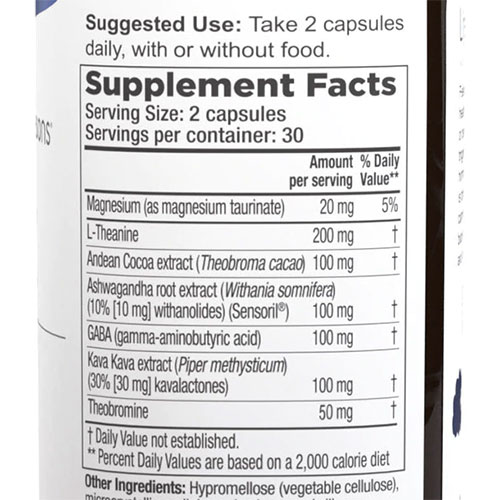 Anxie-T Ingredients Label