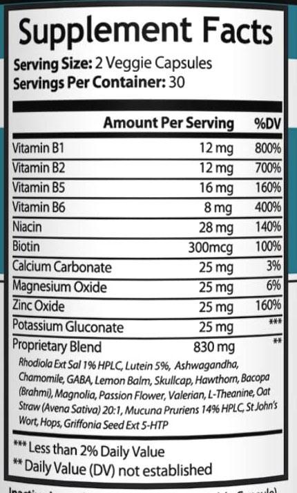 Nutrisuppz Anxiety Formula Ingredients